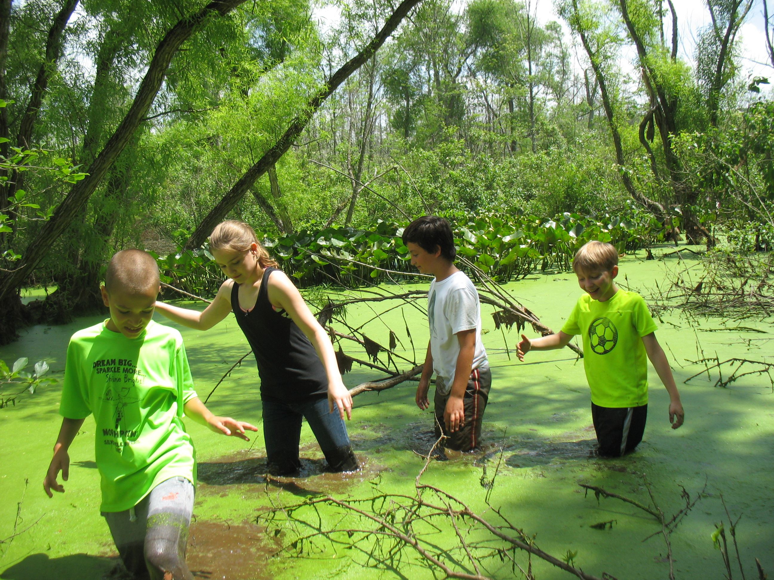 Day Campers do a Swamp Stomp!