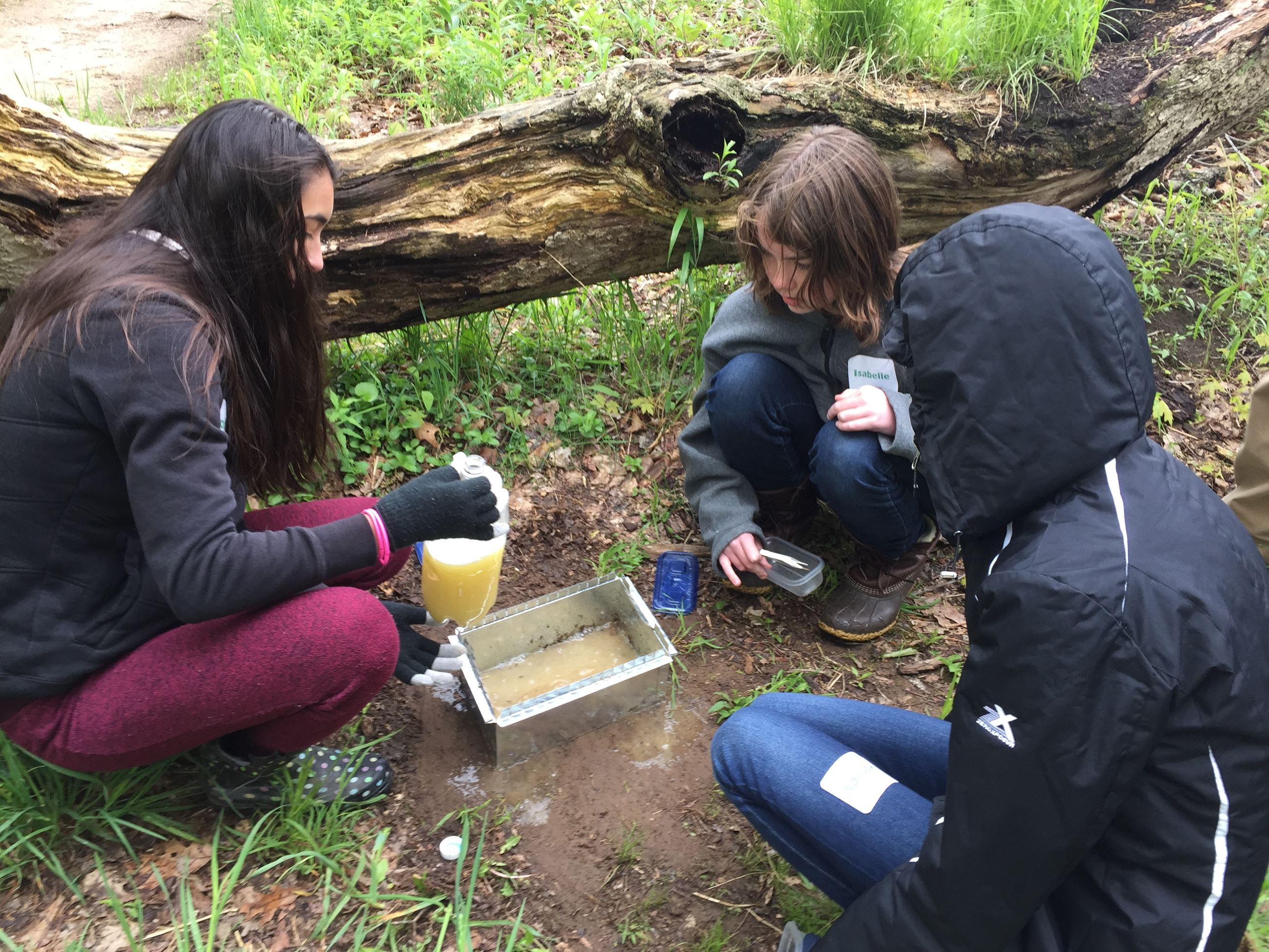 Young women explore leaf litter.
