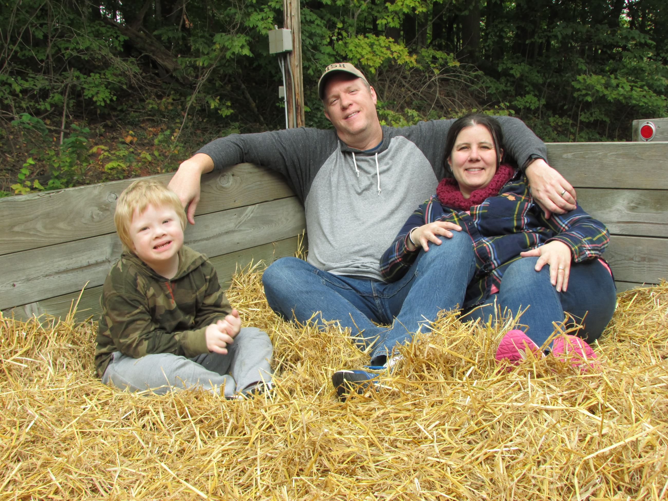 family enjoys hayride