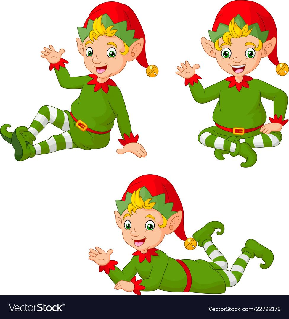 cartoon-christmas-elves-in-different-poses-vector-22792179